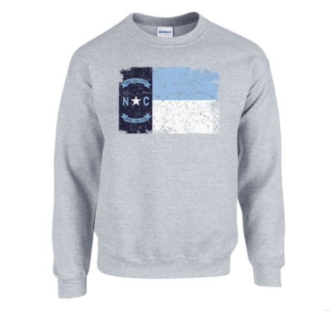 North Carolina Crewneck Sweatshirt with State Flag Distressed