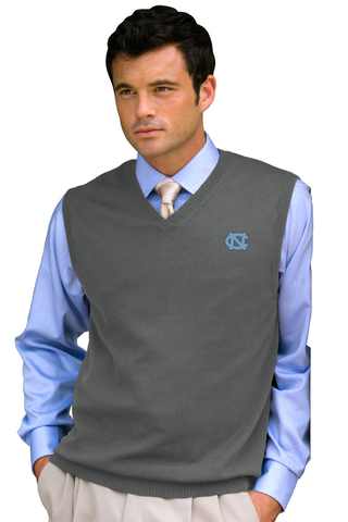 UNC Men's Sweater Vest - Grey with Embroidered Carolina Tar Heels Logo