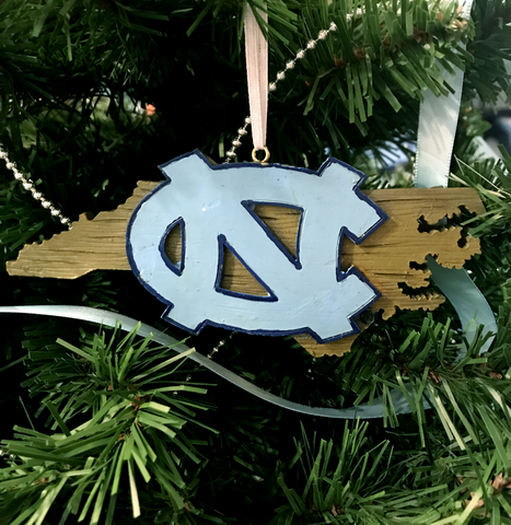 Wooden UNC State Silhouette Ornament