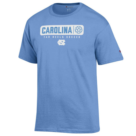 North Carolina Tar Heels UNC Soccer T-Shirt in Carolina Blue with White Design by Champion