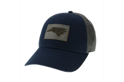 Legacy Engraved Leather North Carolina State Silhouette Navy Trucker Hat