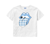Argyle Rolling Stones Crop Top in White