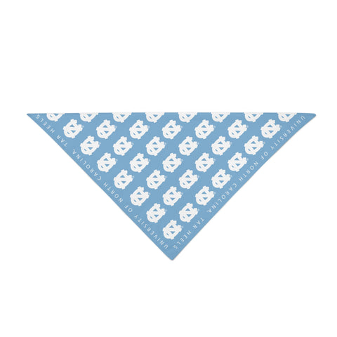 UNC Bandana with tiled white North Carolina Logo on Light Blue Face Covering