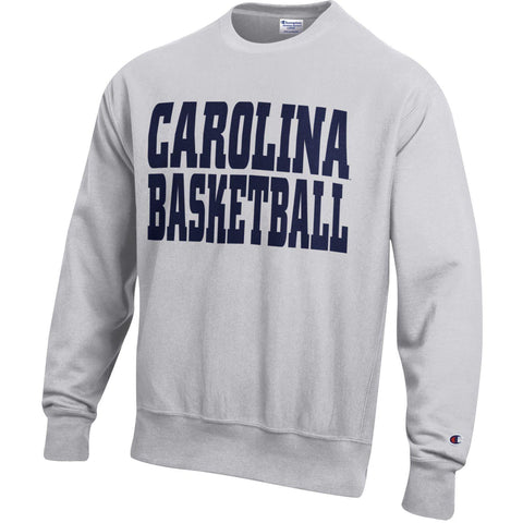 Ash Grey Champion Reverse Weave Crewneck Sweatshirt with Carolina Basketball in Navy Bold lettering