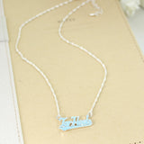 Tar Heels Slogan Necklace in Carolina Blue Crystal