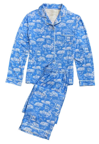 Tar Heel Toile Pajamas in Carolina Blue Long Sleeves Long Pants