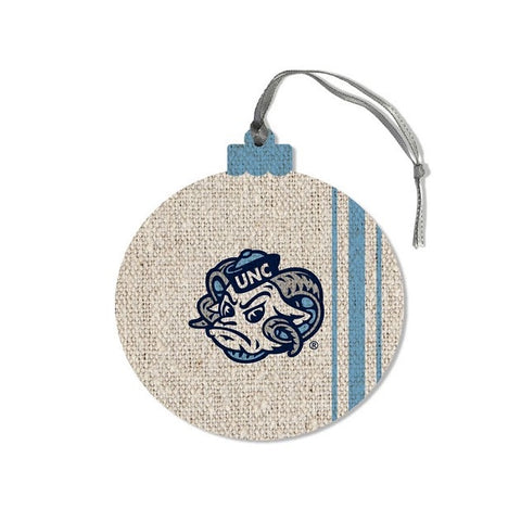 North Carolina Tar Heels Legacy Round White Wooden Ornament with Rameses