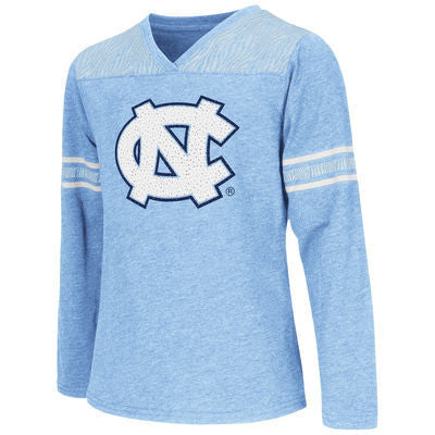 Zebra Striped and Glitter North Carolina Tar Heels Long Sleeve Kids T-Shirt