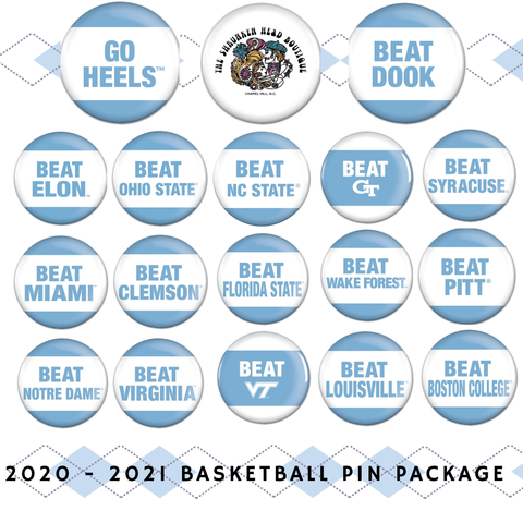 2020 - 2021 UNC Basketball Full Season Game Day Pin Package