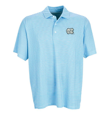 Carolina Blue Dry Fit Striped Polo with NC