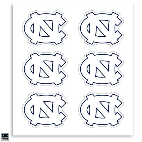 White UNC Logo Decal Sticker - 6 Pack