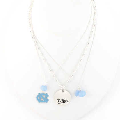 North Carolina Tar Heels Silver Disk Trio Necklace