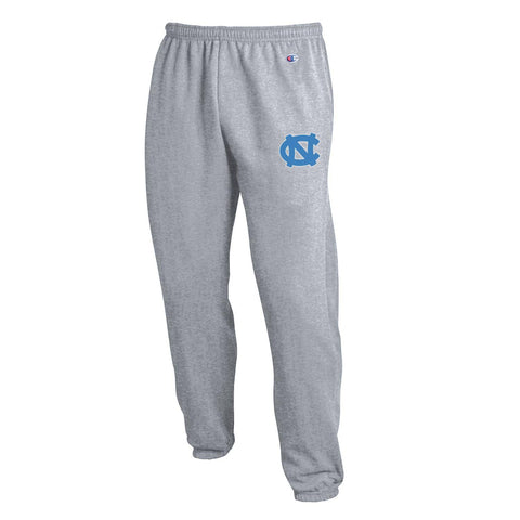Grey UNC Sweatpants by Champion with banded ankle bottom