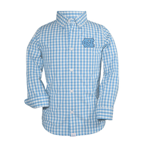 North Carolina Tar Heels Garb Toddler Cotton Gingham Long Sleeve Button Up