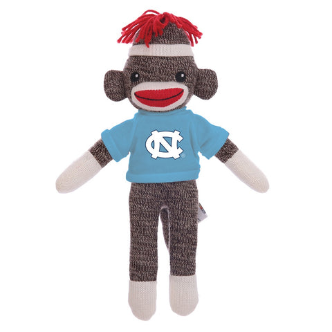 Brown Smiling Stuffed Animal Sock Monkey wearing Carolina Blue UNC T-Shirt
