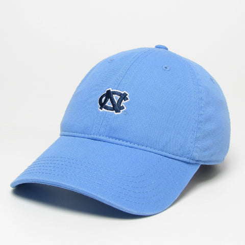 Carolina Blue Hat with Mini UNC Logo in Navy - Adjustable Hat