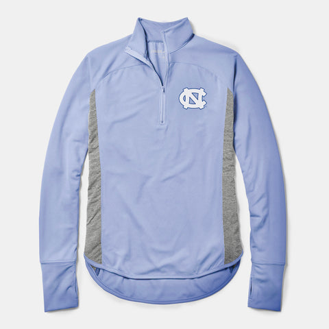 Carolina Blue Womens Quarter Zip Jacket with UNC Logo
