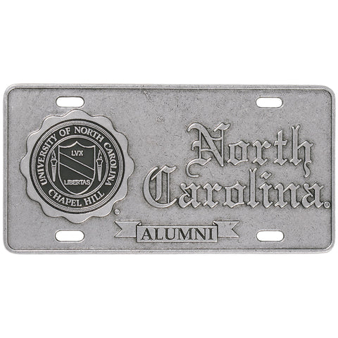 North Carolina Tar Heels Pewter UNC Alumni Auto Plate