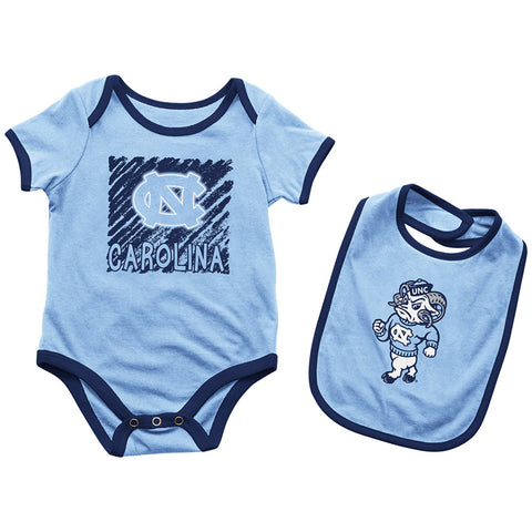 North Carolina Tar Heels Colosseum Baby Look Onsie & Bib Set - Carolina Blue