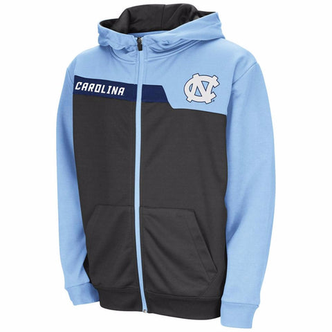 North Carolina Tar Heels Colosseum Youth Jackknife Full Zip Hoodie - Carolina Blue and Charcoal