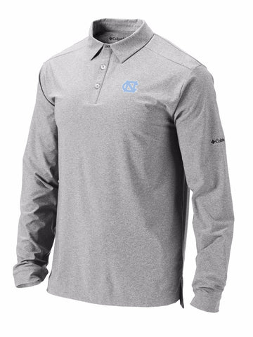 North Carolina Tar Heels Columbia Omni-Wick Pin High Long Sleeve Polo - Gray