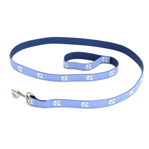Carolina Blue Dog Leash with White UNC Logos Repeating Down Leash