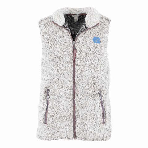 North Carolina Tar Heels Pressbox Poodle Women's Fleece Vest - Ash Gray