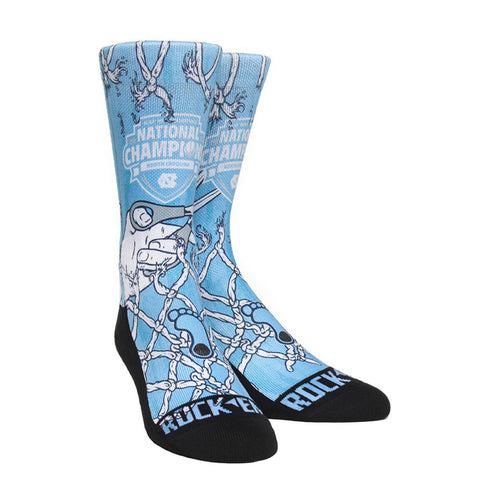 North Carolina Tar Heels Rock Em Cut The Net National Champs Socks - Carolina Blue