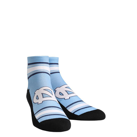 North Carolina Tar Heels Rock Em Classic Stripe Quarter Socks - Carolina Blue