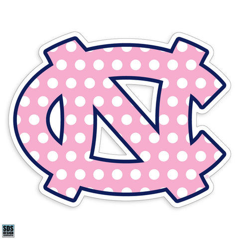 North Carolina Tar Heels SDS Interlock Logo Decal Pink Polka Dot