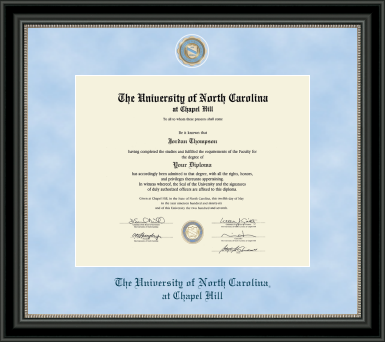 UNC Regal Edition Diploma Frame in Noir