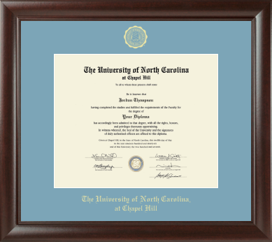 University of North Carolina Church Hill Classics Gold Embossed Diploma Frame in Rainier with Sky Blue Mat