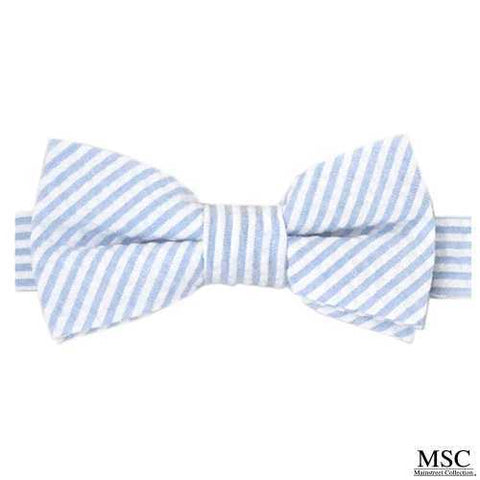 Carolina Blue and White Striped Seersucker Bow Tie