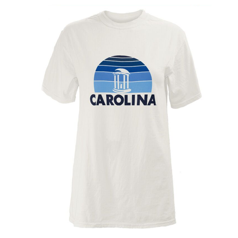 White Comfort Colors Short Sleeve Men's T-Shirt with Old Well and Carolina Design on Carolina Blue Graphic