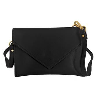 Black Cross Body Purse with Gold Accent