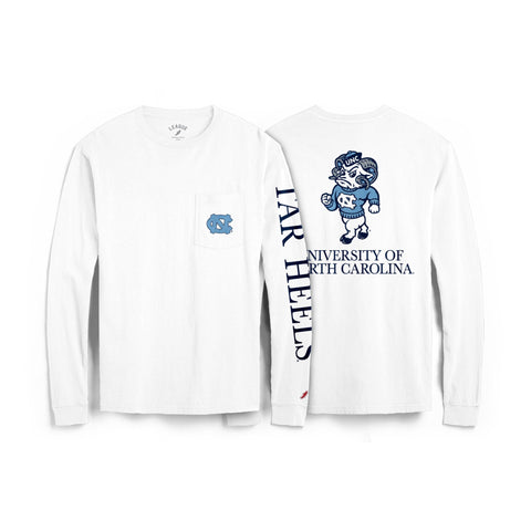White Unisex Long Sleeve with Pocket and Three Locations of UNC Chapel Hill Logos in Navy and Carolina Blue