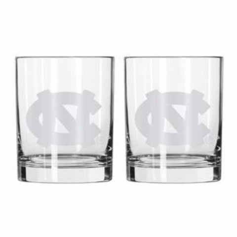 North Carolina Tar Heels Boelter Etched Rocks Glass