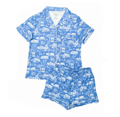 Tar Heel Toile Pajama Set in Carolina Blue