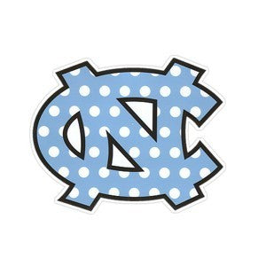 Carolina Blue Polka Dot NC Interlock 3 Inch Magnet