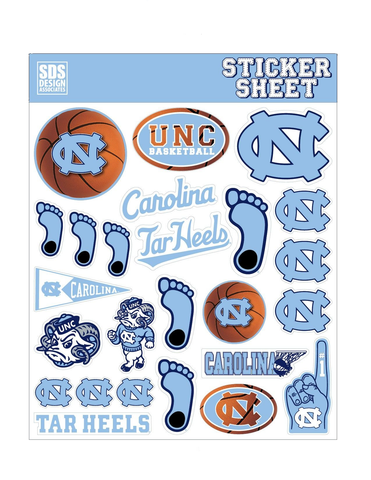 UNC Basketball Themed Sticker Sheet with 25 Carolina Tar Heels Logo Stickers
