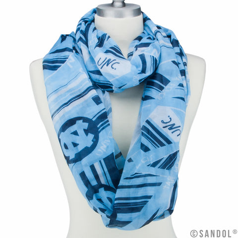 Carolina Blue Womens Infinity Light Weight UNC Scarf with Carolina Tar Heels Logos all over