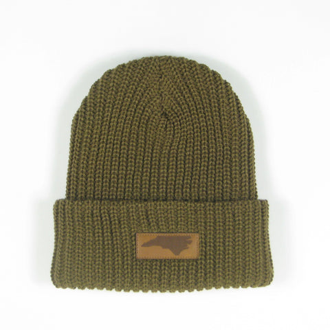 Saddle Brown Beanie with North Carolina State Patch