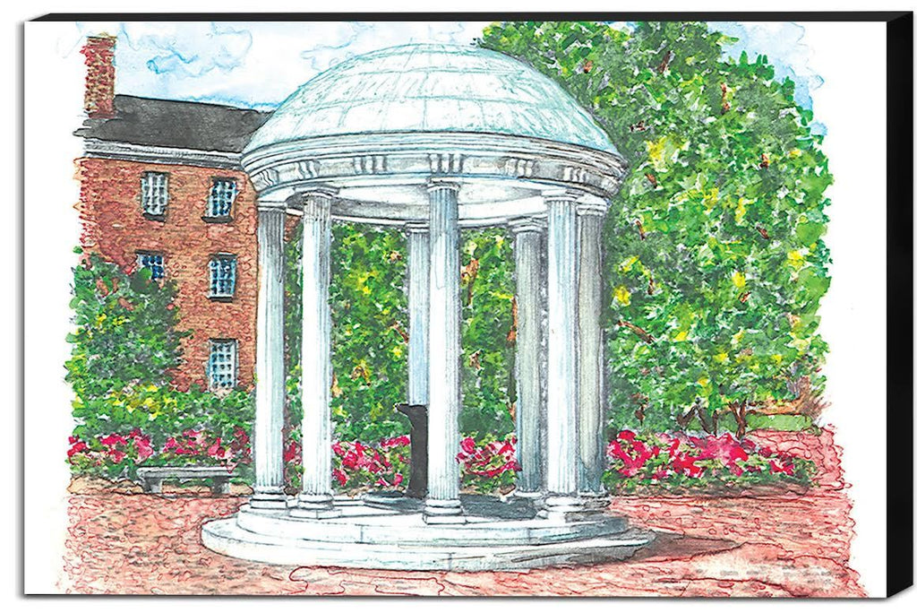 Old Well with Azaleas Canvas
