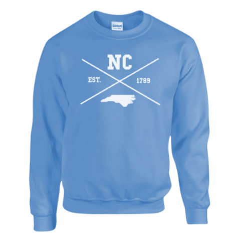 North Carolina Crewneck Sweatshirt in Carolina Blue X Logo