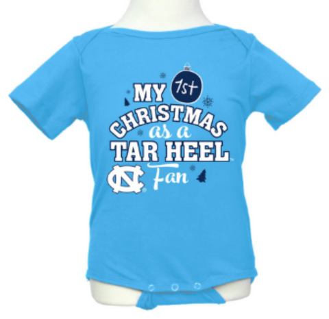 UNC Klutch First Christmas as a Tar Heel Onesie - Carolina Blue