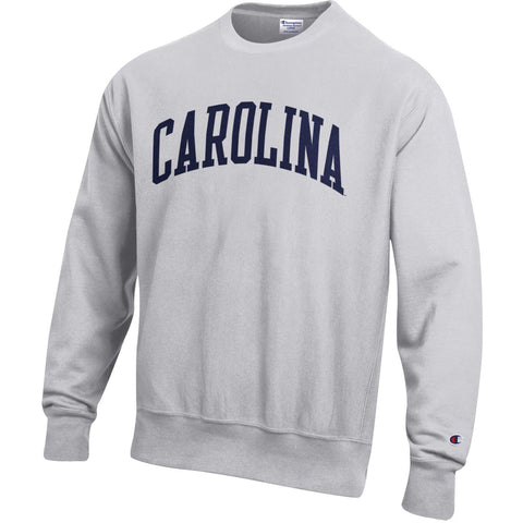 Light Grey Crewneck Sweatshirt with Navy Arched CAROLINA logo - Official UNC Sweatshirt by Champion