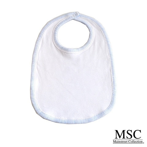 Mainstream Collection Carolina Blue Trimmed White Bib