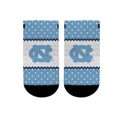 North Carolina Tar Heels Rock Em Chevron Dots Low-Cut Youth Socks Size 2-5.5