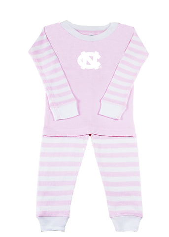 UNC Tar Heels Two Feet Ahead Striped Carolina Toddler Pajamas in Pink