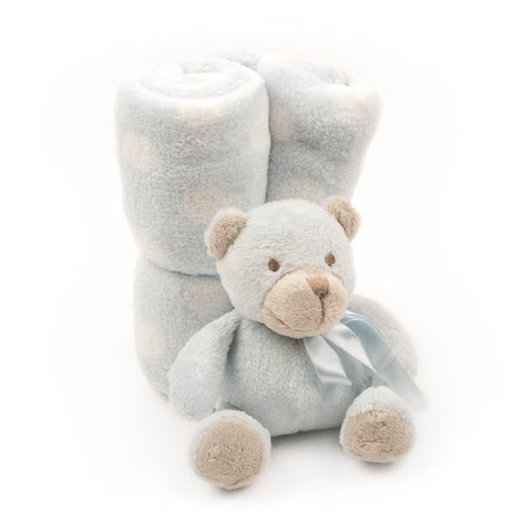 Mainstreeet Collection Carolina Blue Teddy Bear and Baby Blanket Set
